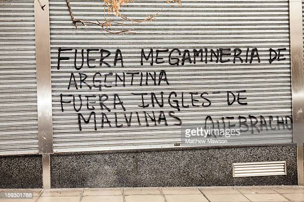CONTENT] Quebracho the Argentinian left wing group protesting with graffiti in Buenos Aires against the English 'occupation' of The Malvinas Islands...