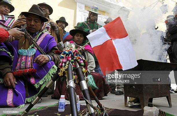 Quechua Amautas perform a ritual asking the goddess Pachamama to give knowledge to the Government in order to solve the conflict in Potosi a mountain...