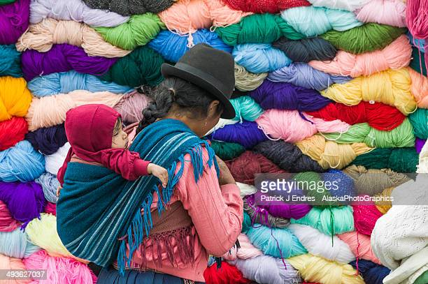 Quechua indians shop at fabric market