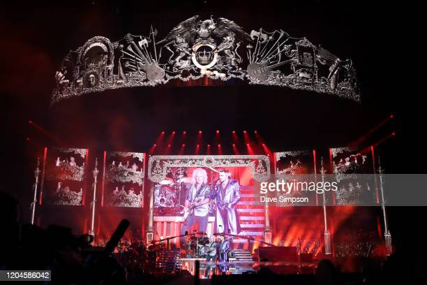 Queen Adam Lambert perform on stage at Mt Smart Stadium on February 07 2020 in Auckland New Zealand