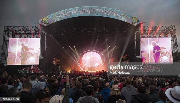 Queen Adam Lambert perform on stage at Seaclose Park on June 12 2016 in Newport Isle of Wight