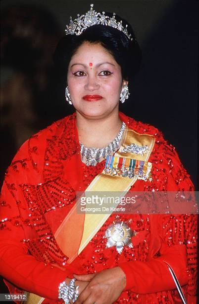 Queen Aiswarya of Nepal poses for a portrait February 19 1986 in Nepal King Birendra the Queen and the rest of the Nepalese Royal Family were slain...