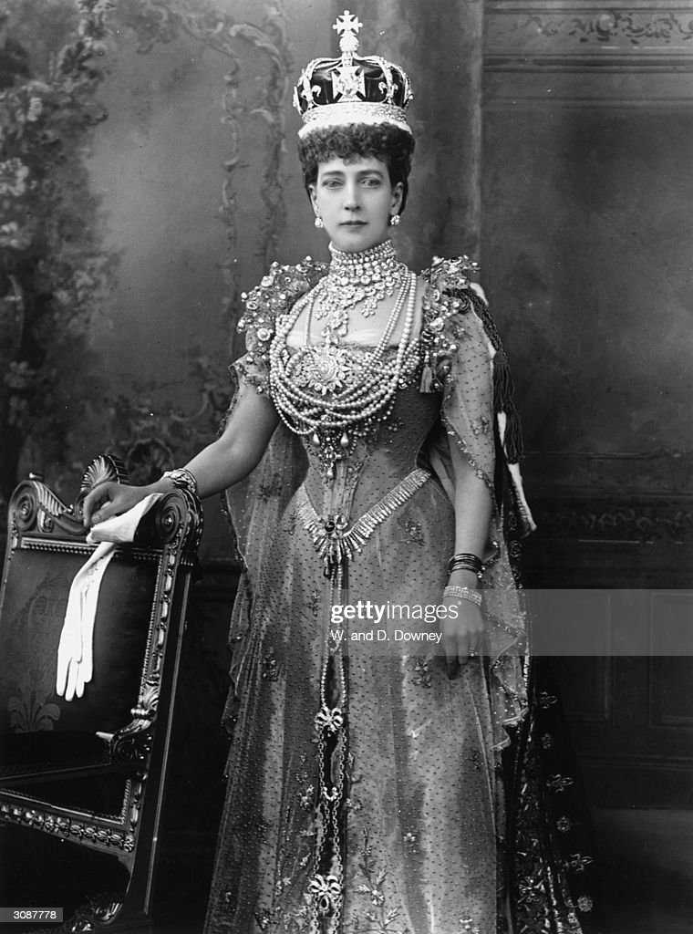 Queen Alexandra (1844 - 1925), consort of King Edward VII, on the day of her husband's coronation.