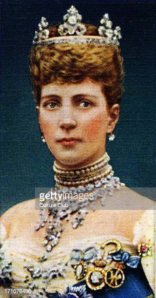 Queen Alexandra of Denmark portrait Alexandra of Denmark married the Prince of Wales in 1863 From Player's cigarette cards based on a photograph by W...