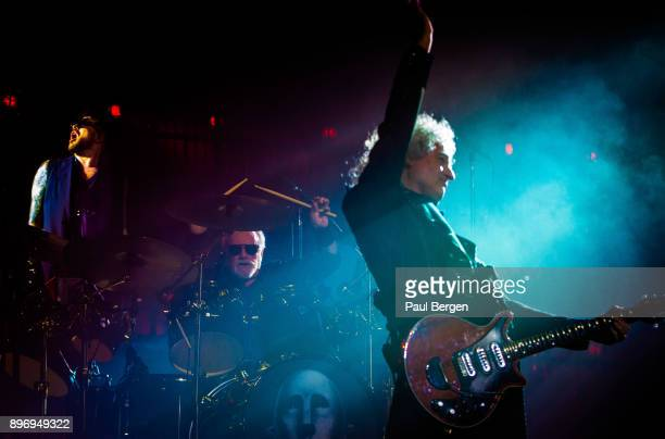 Queen and Adam Lambert perform at Ziggo Dome Amsterdam Netherlands 13th November 2017 LR singer Adam Lambert drummer Roger Taylor and guitarist Brian...