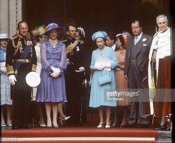 Queen And Prince Philip With Earl Spencer And Mrs Frances Shandkydd At St Paul's Cathedral For The Wedding Of The Prince And Princess Of Wales