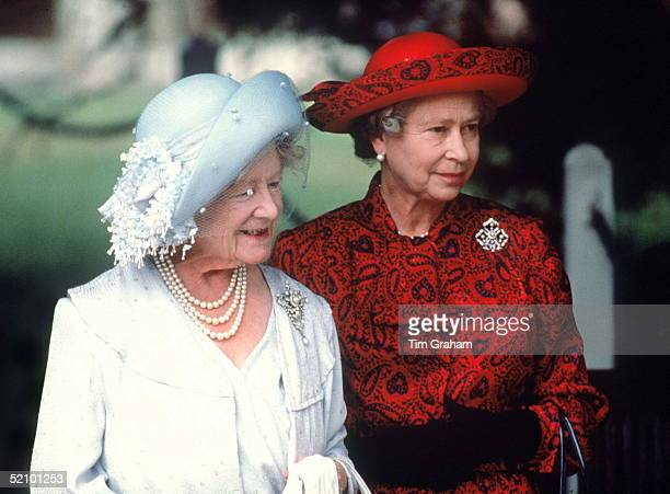 Queen And Queen Mother At Sandringham Church On The Queen Mothers 81st Birthday