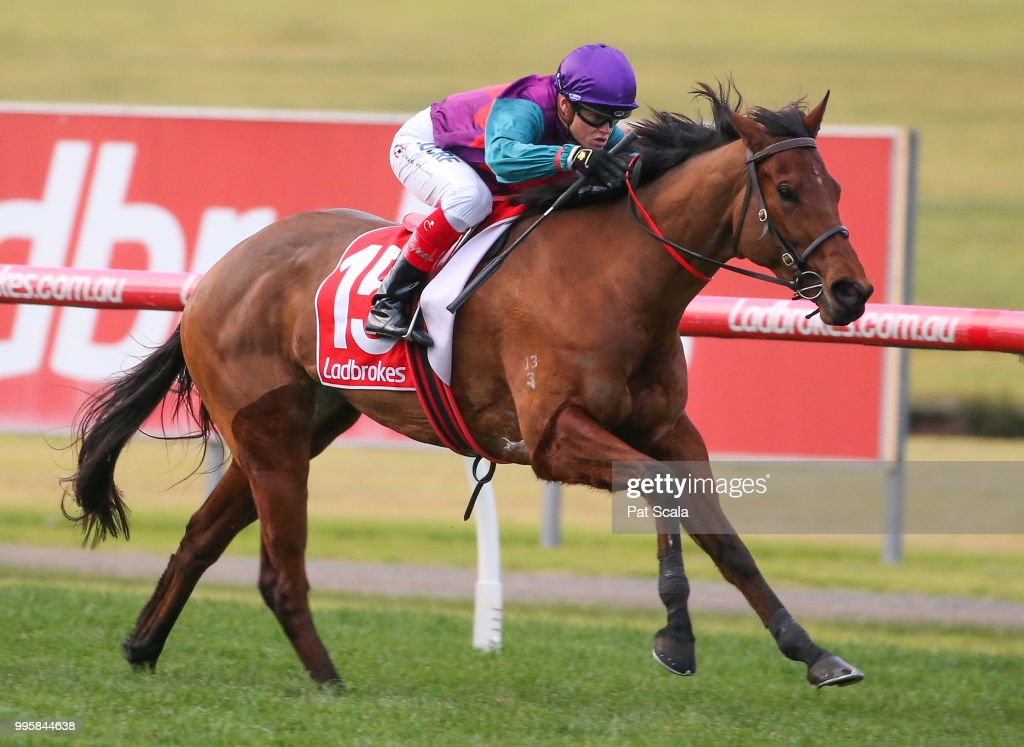 Queen Annabel ridden by Craig Williams wins the Ladbrokes Multiverse Handicap at Ladbrokes Park Lakeside Racecourse on July 11, 2018 in Springvale, Australia.