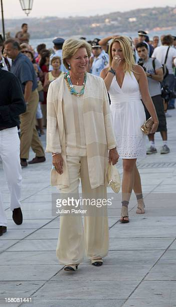Queen Anne Marie Of Greece And Family Attend A Cocktail Party At The Poseidonion Hotel, In Spetses, Greece, On The Eve Of The Wedding Of Prince...