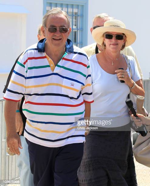 Queen Anne Marie Of Greece and King Constantine of Greece vist the Cathedral of Ayios Nikolaos ahead of the wedding on August 25 2010 in Spetses...