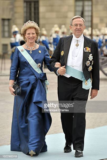 Queen Anne Marie of Greece and King Konstantin of Greece attend the wedding of Crown Princess Victoria of Sweden and Daniel Westling on June 19 2010...