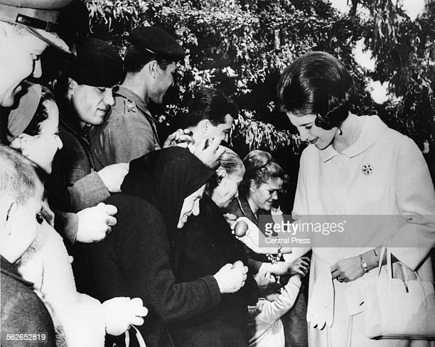 Queen Anne Marie of Greece greeting people at the Royal Guard Camp part of a Royal tradition with her husband King Constantine on Easter Day Greece...