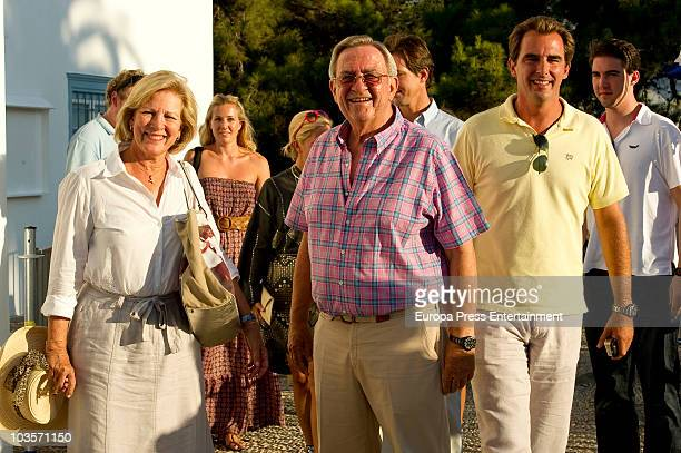 Queen Anne Marie of Greece, King Constantine of Greece and Prince Nikolaos on August 24, 2010 in Spetses, Greece.