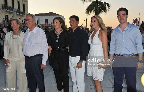 Queen Anne Marie Of Greece King Constantine of Greece Princess Alexia Carlos Morales Princess Theodora and Philippos of Greece arrive at Poseidon...