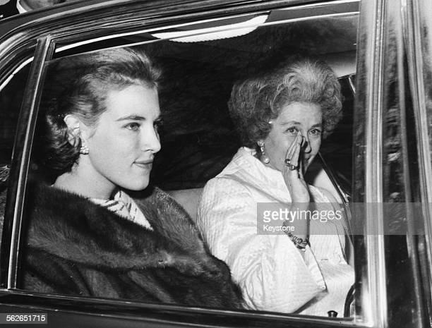 Queen Anne Marie of Greece wife of King Constantine and Queen Mother Fredrika in the back of a car leaving the Greek Embassy in Rome December 17th...