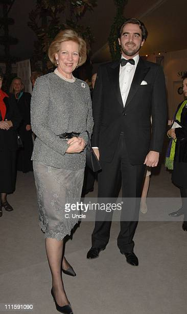 Queen AnneMarie and Prince Nikolaos of Greece during BADA Antiques and Fine Art Fair VIP Gala Evening Arrivals at Duke Of York's HQ in London Great...