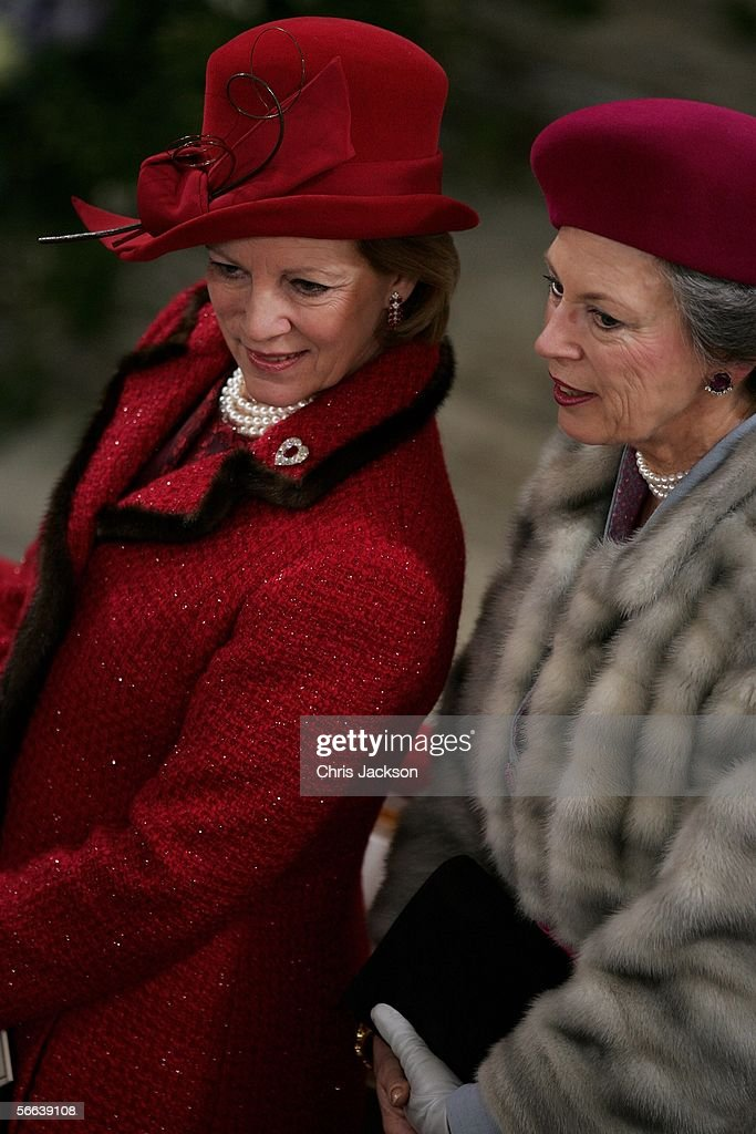 Queen Anne-Marie (L) chats with Princess Benedikte of Denmark during the Royal Christening of Prince Christian ,son of TRH Crown Prince Frederik of Denmark and Crown Princess Mary of Denmark, at Christiansborg Palace Church on January 21, 2006 in Copenhagen, Denmark. The new Prince was born on October 14, 2005 at Copenhagen University Hospital and is the first child for the Royal couple.