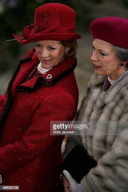 Queen Anne-Marie chats with Princess Benedikte of Denmark during the Royal Christening of Prince Christian ,son of TRH Crown Prince Frederik of...