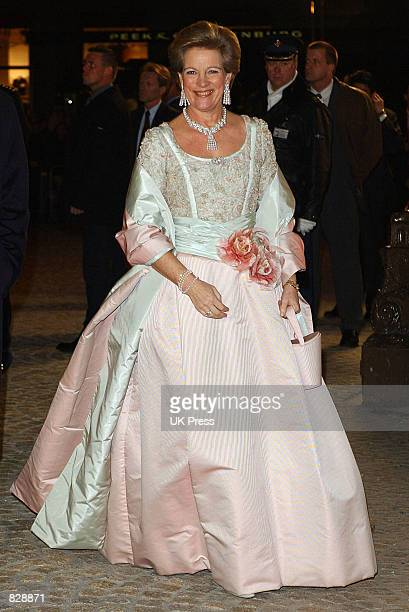 Queen AnneMarie of Greece attends a dinner and party at the Royal Palace in honor of the wedding of Dutch Crown Prince WillemAlexander and Maxima...