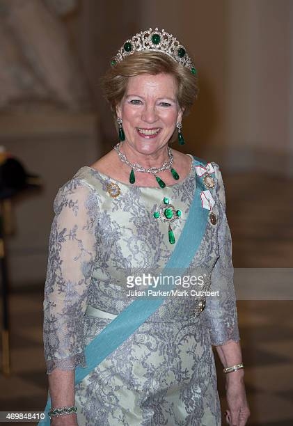 Queen AnneMarie of Greece attends a gala dinner at Christiansborg Palace on the eve of the 75th Birthday of Queen Margrethe II of Denmark on April 15...