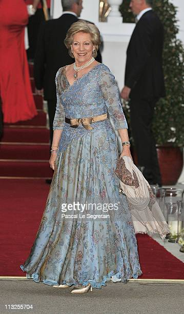 Queen Anne-Marie of Greece attends a gala pre-wedding dinner held at the Mandarin Oriental Hyde Park on April 28, 2011 in London, England.