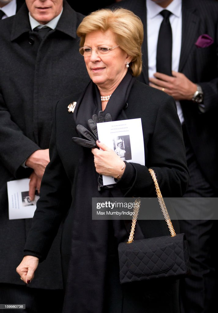 Queen Anne-Marie of Greece attends the funeral of Princess Margarita of Baden, niece of Prince Philip, Duke of Edinburgh at the Serbian Orthodox Church of Saint Sava on January 24, 2013 in London, England.