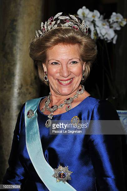 Queen Anne-Marie of Greece attends the Wedding Banquet for Crown Princess Victoria of Sweden and her husband prince Daniel at the Royal Palace on...