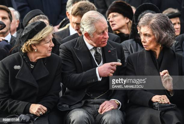 Queen AnneMarie of Greece Charles Prince of Wales and former Queen of Spain Sophia attend the funeral ceremony for the late King Michael I of Romania...