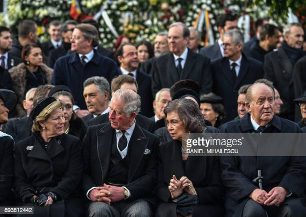 Queen AnneMarie of Greece Charles Prince of Wales former Queen of Spain Sophia and former King Juan Carlos I of Spain attend the funeral ceremony for...