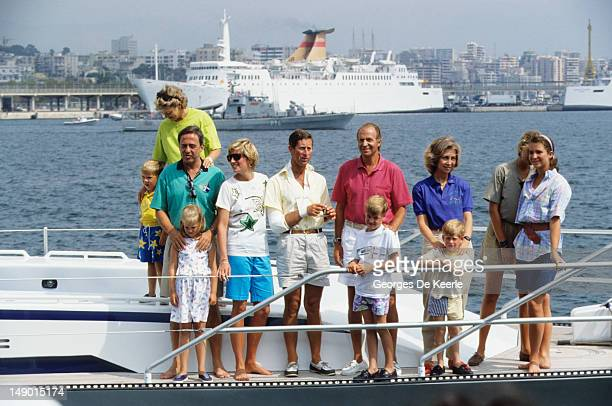 Queen AnneMarie of Greece King Constantine II of Greece and Princess Theodora of Greece Diana Princess of Wales Prince Charles King Juan Carlos of...