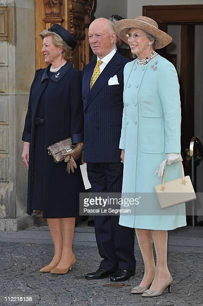 Queen AnneMarie of Greece Richard zu SaynWittgensteinBerleburg and Princess Benedikte of Denmark depart after the christening of Crown Prince...