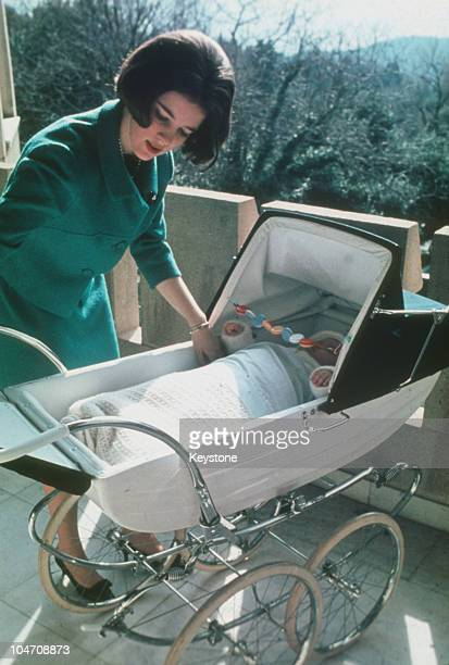 Queen AnneMarie of Greece with her baby daughter Princess Alexia at Tatoi Palace in Greece in 1966