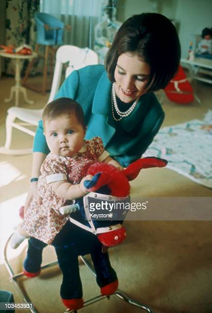 Queen AnneMarie of Greece with her daughter Princess Alexia at Tatoi Palace in Greece in 1966