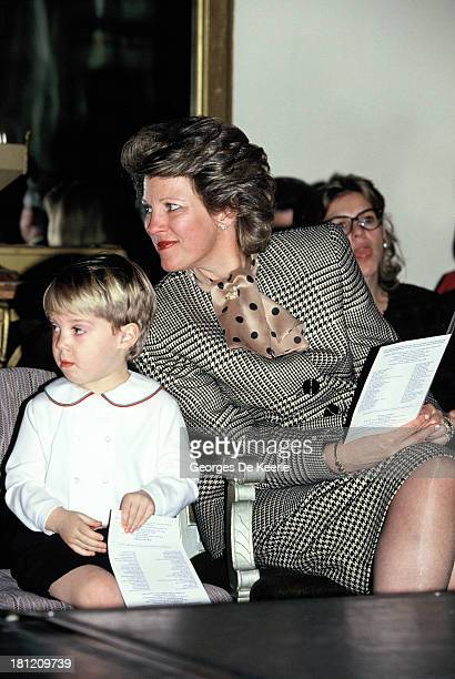 Queen AnneMarie Of Greece with her son Prince Philippos of Greece in 1990 ca in London England