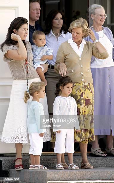 Queen AnneMarie Princess Alexia Of Greece Children Arrietta AnaMaria Carlos Attend A Photocall At Grasten Palace Denmark