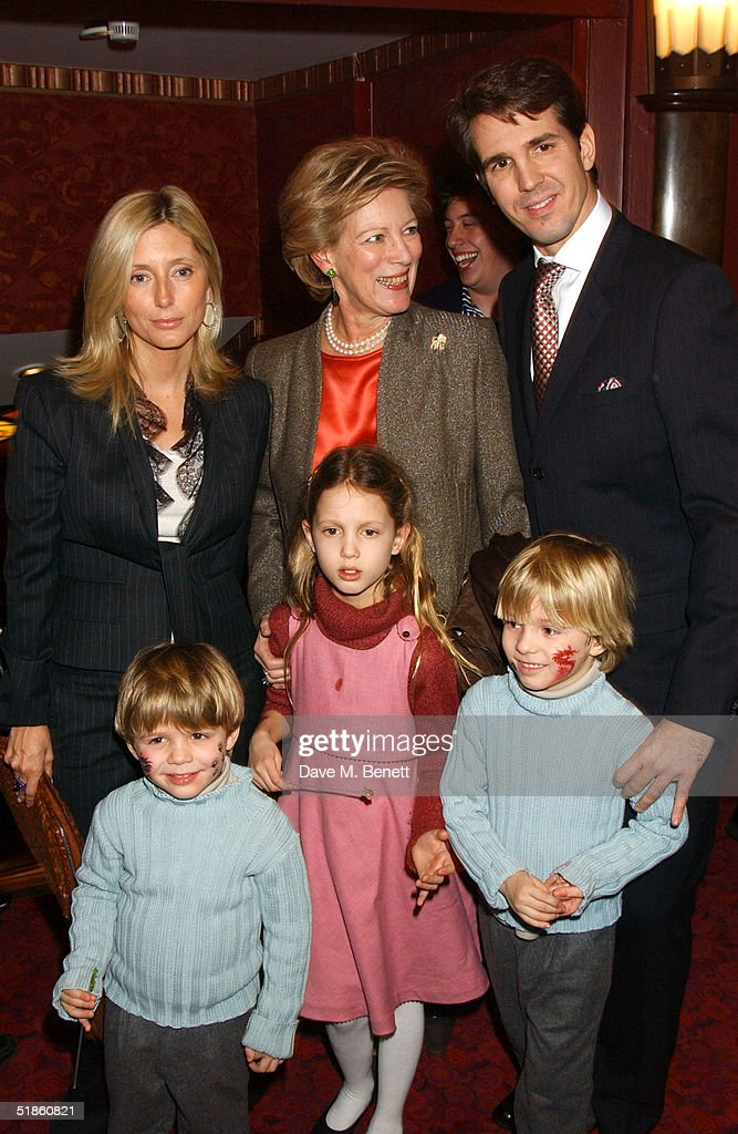 Queen Anne-Marie with Prince Pavlos and Princess Marie-Chantal of Greece with their children Maria-Olympia, Constantine Alexios and Achileas Andreas attend the 'Mary Poppins' Gala Preview ahead of tomorrow's press night at the Prince Edward Theatre on December 14, 2004 in London.