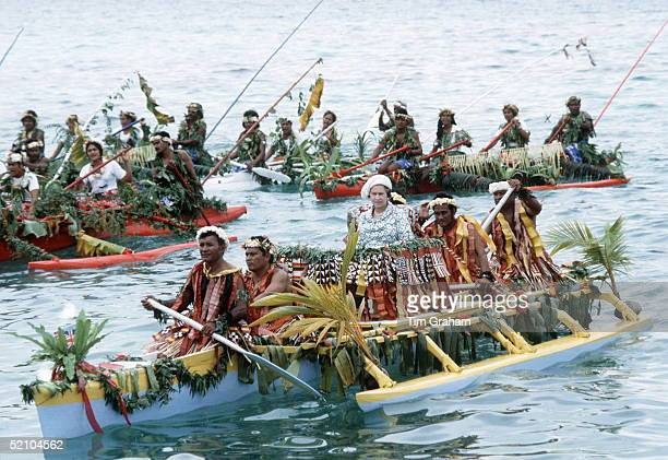 Queen Arrives In Tuvalu In The South Pacific By Native Canoe For A Commonwealth Visit