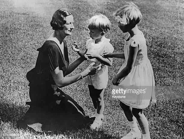 Queen Astrid of Belgium with her two children King Baudouin of Belgium and Princess Josephine Charlotte of Belgium 1935