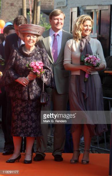 Queen Beatix of The Netherlands and Prince Willem Alexander of The Netherlands and Princess Maxima of The Netherlands celebrate Queens Day on April...
