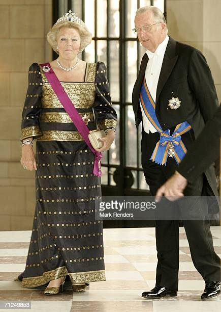 Queen Beatrix and King Albert stand for a photo at Laken Castle before the gala dinner as part of her 3day during visit to Belgium on June 20 2006 in...