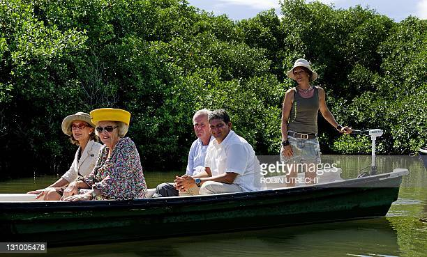 Queen Beatrix and Prince Willem-Alexander makes a boat trip through the mangroves in the nature parc of Lac Cai, as part of a state visit in the...