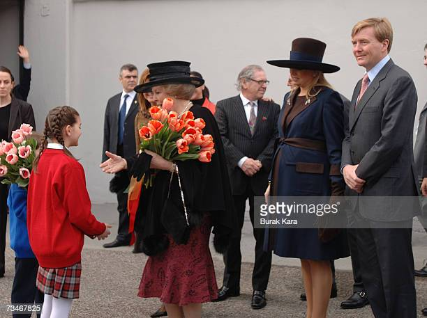 Queen Beatrix arrives with Princess Maxima of the Netherlands and Prince WillemAlexander of the Netherlands to visit the Istanbul Modern Art Museum...