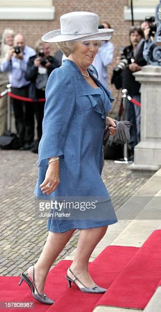 Queen Beatrix Attends The Civil Wedding Ceremony Of Prince PieterChristiaan Anita Van Eijk At The Palace Het Loo In Apeldoorn Holland