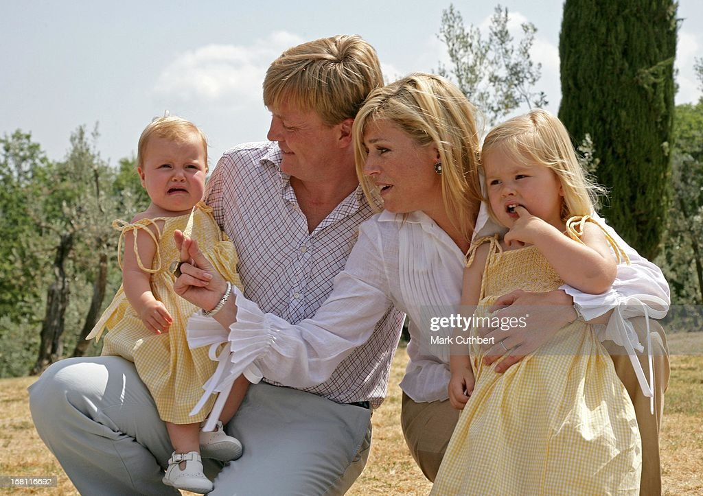 Queen Beatrix, Crown Prince Willem-Alexander, Crown Princess Maxima, Princess Catharina-Amalia & Princess Alexia Pose For Photographs At Their Italian Summer Residence In Tavarnelle. .