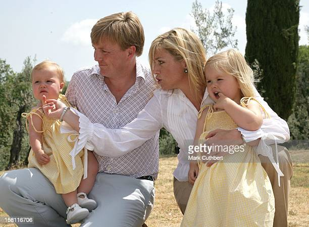 Queen Beatrix Crown Prince WillemAlexander Crown Princess Maxima Princess CatharinaAmalia Princess Alexia Pose For Photographs At Their Italian...