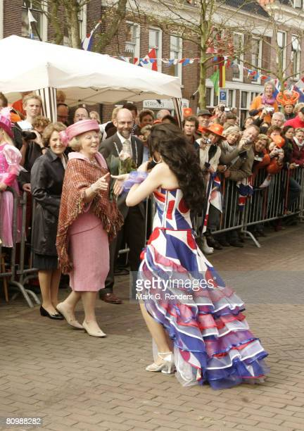 Queen Beatrix from the Dutch Royal Family dances on the streets on Queensday April 30 2008 in Makkum The Netherlands