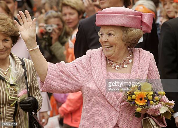 Queen Beatrix from the Dutch Royal Family greets the crowd on Queensday April 30 2008 in Franeker The Netherlands