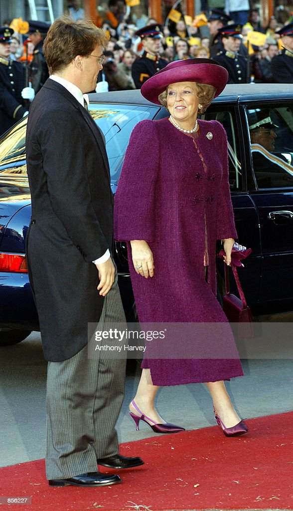 Queen Beatrix of Holland arrives at the church for the wedding of Crown Prince Willem Alexander and Crown Princess Maxima Zorreguieta February 2, 2002 in Amsterdam, Holland.
