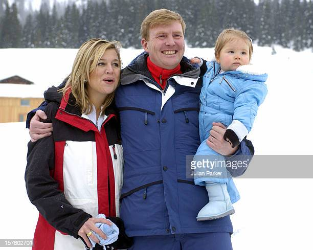 Queen Beatrix Of Holland Crown Prince WillemAlexander Crown Princess Maxima Daughter Princess CatharinaAmalia Attend A Photocall In The Snow In Lech...
