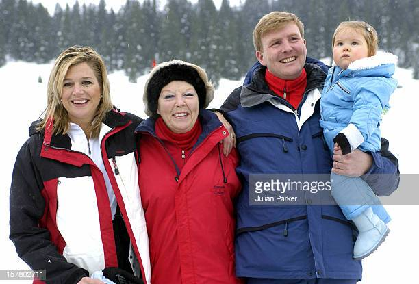 Queen Beatrix Of Holland, Crown Prince Willem-Alexander, Crown Princess Maxima & Daughter Princess Catharina-Amalia Attend A Photocall In The Snow In...